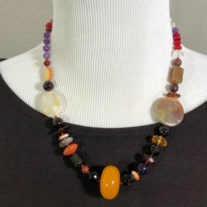 """AD LOPEZ Mixed Stone Necklace 19"""""""